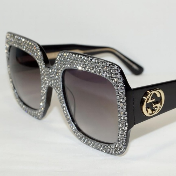 054b8996bea GUCCI SQUARE BLACK SILVER CRYSTAL SUNGLASSES